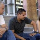 Tim Robbins as Cheaver, Michael Peña as TK and Rachel McAdams as Colee in THE LUCKY ONES.