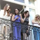 Selena Gomez, Vanessa Hudgens, Rachel Korine, and Ashley Benson waving to their fans from their balcony at Bristol hotel in Paris, France, on February 17th 2013 - 454 x 364