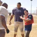 """(Left to right) Bob Sapp as Switowski, Dalip Singh as Turley, Adam Sandler as Paul Crewe and Chris Rock as Caretaker in """" The Longest Yard."""" Photo by:  Tracy Bennett"""