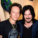 "Musician/artist Billy Morrison and producer Gilby Clarke attends an VIP Opening Reception For ""Dis-Ease"" An Evening Of Fine Art With Billy Morrison at Mouche Gallery on September 2, 2015 in Beverly Hills, California."