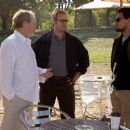 (L-r) Director RIDLEY SCOTT, RUSSELL CROWE and LEONARDO DICAPRIO on location for Warner Bros. Pictures' suspense thriller 'Body of Lies.' Photo by François Duhamel