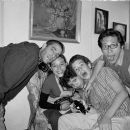 L to R: Director Fernando Eimbcke with Danny Perea, Diego Cataño, Daniel Miranda and Enrique Arreola on the set of DUCK SEASON (TEMPORADA DE PATOS) a Warner Independent Pictures release. Photo Credit: Jaime B. Ramos © 2004 Cinepantera. - 454 x 306