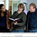 Paula Patton, director/co-writer Alexandre Aja and Kiefer Sutherland review a scene on the set of MIRRORS. Photo credit: Toni Salabasev.