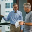 Carl Hiaasen and director Wil Shriner behind scene of Hoot 2006