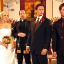 Tori Spelling as Alex, Dean Nolen as Reverend, James O'Shea as Ryan and Philipp Karner as Matt in Kiss the Bride.