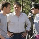 Director/Producer BRYAN SINGER, writer CHRISTOPHER McQUARRIE, and TOM CRUISE on the set of the suspense thriller VALKYRIE. VALKYRIE opens in theatres nationwide on December 25, 2008. ©2008 United Artists Production Finance, LLC. All Rights Reserved.
