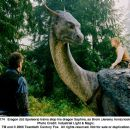 Eragon (Ed Speleers) trains atop his dragon Saphira, as Brom (Jeremy Irons) looks on. Photo credit: ILM