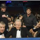 Writer, director and star SYLVESTER STALLONE oversees scene preparations by real-life boxing commentators JIM LAMPLEY, MAX KELLERMAN and LARRY MERCHANT.