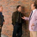 """From left to right: stars MARTIN SHEEN, MARK WAHLBERG and JACK NICHOLSON enjoy a laugh during a break on the set of Warner Bros. Pictures' crime drama """"The Departed."""" Photo by Andrew Cooper"""