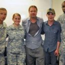 """Brad Pitt, Shia LaBeouf, Logan Lerman, and Jon Bernthal meets with soldiers while visiting the Fort Irwin National Training Center on Thursday (June 27) in Fort Irwin, California to prep for their upcoming film """"Fury"""""""