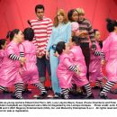 Not-so-young orphans Edward (Kal Penn, left), Lucy (Jayma Mays), Susan (Faune Chambers) and Peter (Adam Campbell) are frightened and a little bit disgusted by the Loompa Oompas. Photo credit: John P. Johnson