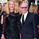 Still going strong! Jerry Hall, 59, hits the Golden Globes red carpet on the arm of 84-year-old Rupert Murdoch - three months after it was revealed they are dating - 11 Jan 2016 - 454 x 595