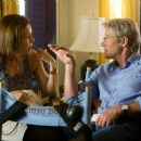 """Producer DENISE DI NOVI with RICHARD GERE on the set of Warner Bros. Pictures' and Village Roadshow Pictures' romantic drama """"Nights in Rodanthe,"""" also starring Diane Lane. Photo by Michael Tackett"""