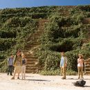 "(Left to right) A group of tourists, Dimitri (Dimitri Baveas), Jeff (Jonathan Tucker), Eric (Shawn Ashmore), Stacy (Laura Ramsey), Mathias (Joe Anderson) and Amy (Jena Malone), find themselves trapped at an obscure Mayan temple in ""The Ruins."""