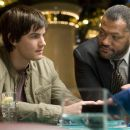 Cole Williams (Laurence Fishburne, right), the casinos' primary enforcer, finds Ben Campbell (Jim Sturgess, left), part of M.I.T.'s blackjack team, which has beaten the odds at blackjack in Columbia Pictures' 21. Photo credit: Peter Iovi