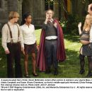 A superannuated Harry Potter (Kevin McDonald, center) offers advice to orphans Lucy (Jayma Mays, left), Peter (Adam Campbell) and Susan (Faune Chambers), as Harry's middle-aged pals Hermione (Crista Flanagan) and Ron (George Alvarez) look on. Photo - 454 x 359