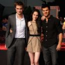 Robert Pattinson, Kristen Stewart and Taylor Lautner are Immortalized in a Hand and Footprint Ceremony at the Grauman's Chinese Theatre on November 3, 2011 in Hollywood, California