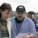 Producer Lauren Shuler Donner and director/producer Andy Fickman confer on the set of DreamWorks Pictures' and Lakeshore Entertainment's comedy She's the Man.