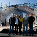 The cast of QUANTUM OF SOLACE. From left to right: ANATOLE TAUBMAN (Elvis), MATHIEU AMALRIC (Dominic Greene), OLGA KURYLENKO (Camille), DANIEL CRAIG (James Bond) and MARC FORSTER (Director). Location: Bregenzer Festspiele / Festival House, Austria. Photo - 454 x 303