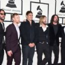 Musicians Franz Stahl, Nate Mendel, Pat Smear, Taylor Hawkins, Dave Grohl, and Chris Shiflett of Foo Fighters attend The 58th GRAMMY Awards at Staples Center on February 15, 2016 in Los Angeles, California.
