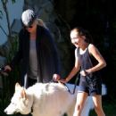 Noah Cyrus and dog, Mate going for a walk