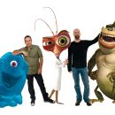 (Left to right) B.O.B. (SETH ROGEN), director ROB LETTERMAN, Dr. Cockroach, Ph.D. (HUGH LAURIE), director CONRAD VERNON, and The Missing Link (WILL ARNETT) from DreamWorks Animation's 'Monsters vs. Aliens.' - 454 x 286
