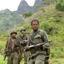 """(Left to right) Alpa Chino (Brandon T. Jackson), Kevin Sandusky (Jay Baruchel) and Kirk Lazarus (Robert Downey Jr.) are actors shooting a war movie who get caught up in a real battle in the action comedy """"Tropic Thunder."""" Credit: Merie Weismil"""