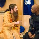 Guru Pitka (Mike Myers, left) counsels distraught hockey star Darren Roanoke (Romany Malco, right) in the comedy 'The Love Guru.' Photo Credit: George Kraychyk. Copyright (c) 2008 by PARAMOUNT PICTURES. All Rights Reserved.