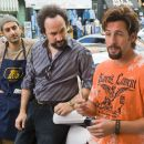 In Columbia Pictures' You Don't Mess with the Zohan, Zohan (Adam Sandler, right) falls in with a group of Israeli immigrants to New York, including Yhitzak (Ben Wise, left) and Yosi (Robert Smigel, center). Photo By:  Tracy Bennett. © 2008 Columbi