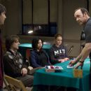 In Columbia Pictures' 21, the M.I.T. blackjack team - a group of students that has figured out how to take Vegas for millions - practices counting cards.  Left to right: Ben Campbell (Jim Sturgess), Fisher (Jacob Pitts), Kianna (Liza Lapira), Jill T
