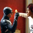 """EMILE HIRSCH as Speed Racer and MATTHEW FOX as Racer X blocks a punch from RAIN as Taejo Togokahn in a scene from Warner Bros. Pictures' and Village Roadshow Pictures' action adventure """"Speed Racer,"""" distributed by Warner Bros. Pic"""