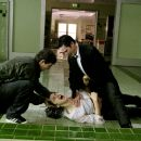 """(L-r) SHIA LaBEOUF, KEANU REEVES and RACHEL WEISZ in Bros. Pictures' supernatural thriller """"Constantine."""" Photo by David James"""