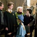 Director Mike Newell, Robert Pattinson, Miranda Richardson, Daniel Radcliffe and Stanislav Ianevski on the set of Warner Bros. Pictures' Harry Potter and the Goblet of Fire - 2005