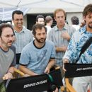 Screenwriters Robert Smigel (left), Judd Apatow (center), and Adam Sandler (right), flanked by producer Jack Giarraputo (center left), watch a scene on the set of Columbia Pictures' You Don't Mess with the Zohan. Photo By:  Tracy Bennett. © 2008 C