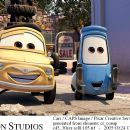 Luigi (voiced by Tony Shalhoub) and Guido (voiced by Guido Quaroni) in Buena Vista Pictures Distribution's Cars - 2006