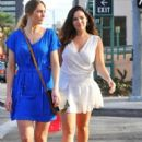 Kelly Brook stops by a nail salon in Beverly Hills, California with a friend on January 7, 2015 - 407 x 594