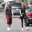 Behati Prinsloo and Adam Levine – Heads to morning Pilates workout in Studio City