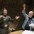 JET LI as the vicious Emperor and director ROB COHEN on the set.