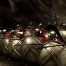 Captain (VINCENT REGAN, third from right), Leonidas (GERARD BUTLER) and Stelios (MICHAEL FASSBENDER) take their places at the front of the deadly Spartan phalanx in Warner Bros. Pictures', Legendary Pictures' and Virtual Studios' action - 454 x 237