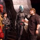 Ron Perlman, Selma Blair, Doug Jones and director Guillermo del Toro on the set of Hellboy 2: The Golden Army