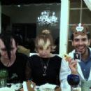 Marilyn Manson, Peaches Geldof and Eli Roth celebrating the first night of the Jewish holiday of Passover on April 18, 2011