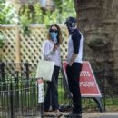 Lily James and Chris Evans – Seen eating ice cream on a date in the park in London - 454 x 488