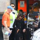 Lea Michele Filming Glee In La