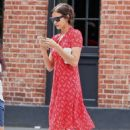 Irina Shayk in Red Dress – Out in New York