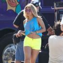 Vanessa Hudgens, Ashley Benson and Rachel Korine film scenes for Spring Breakers on a fishing pier in Tampa, Florida March 12, 2012