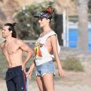 Alessandra Ambrosio – Plays beach volleyball with friends on Santa Monica Beach