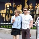 Kate Mara in Mini skirt with Jamie Bell out in Paris - 454 x 685