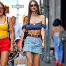 Emily Ratajkowski in Denim Mini Skirt in New York