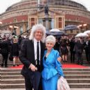 Brian May and Anita Dobson attend The Olivier Awards with Mastercard at Royal Albert Hall on April 8, 2018 in London, England