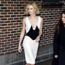 Charlize Theron leaves the Ed Sullivan Theater in New York City after promoting her new film